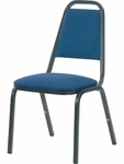 8900 Series Stack Chair with Trapezoid Back and Dome Seat in Sedona Sailor Fabric and Char Black Frame - 18''W x 22''D x 34.5''H [8926-BLU204-BLK01-VCO]