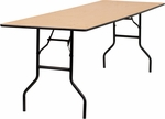 30'' x 96'' Rectangular Wood Folding Banquet Table with Clear Coated Finished Top [YT-WTFT30X96-TBL-GG]