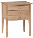 Classic Solid Parawood 18''W X 29''H Accent Table with Drawers - Unfinished [OT-66-FS-WHT]