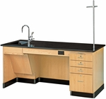 ADA Science Instructor's Wooden Desk with 1'' Thick Black Phenolic Resin Top - 72''W x 30''D x 34''H [1214K-L-ADA-DW]