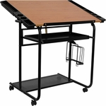Adjustable Drawing and Drafting Table with Black Frame and Dual Wheel Casters [NAN-JN-2739-GG]