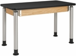Adjustable Height Science Lab Table with 1.25'' Thick Black Plastic Laminate Top - 48''W x 24''D x 27''H - 39''H [P8101K-DW]