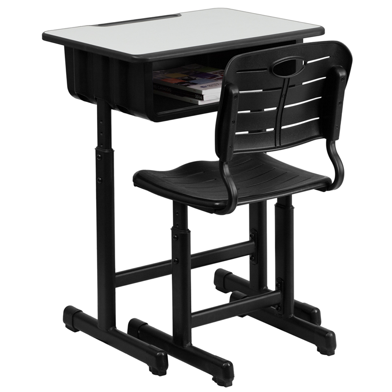 Adjustable height student desk and chair with black - Ergonomic table and chair ...