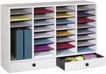 Adjustable Wooden Literature Organizer with Thirty-Two Compartments and Two Drawers - Gray [9494GR-FS-SAF]