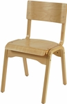 1100 Series Stacking Hardwood Armless Cafe Chair with Waterfall Seat - Natural [AD1100-NAT-IFK]