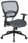 Space Air Grid Seat and Back Deluxe Task Chair with Adjustable Arms and Heavy Duty Angled Nylon Base - Black [5560-FS-OS]
