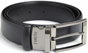 Airport Security Checkpoint Friendly Belt with Detachable Chrome Buckle - Italian Genuine Leather - Waist Size 34 - Black
