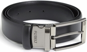 Airport Security Checkpoint Friendly Belt with Detachable Chrome Buckle - Italian Genuine Leather - Waist Size 44 - Black