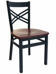 Akrin Metal Cross Back Chair - Black Wood Seat [2130CBLW-SB-BFMS]