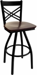 Akrin Metal Cross Back Swivel Barstool - Black Wood Seat [2130SBLW-SB-BFMS]