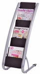 ALBA'S Stationary Floor Literature Six level Display - Black with Silver Base [DDEXPO6-FS-ABA]