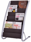 ALBA'S Stationary Floor Literature Eight level Display- Black with Silver Base [DDEXPO8-FS-ABA]