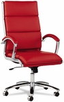 Alera® Neratoli Series High-Back Swivel/Tilt Chair - Red Soft Leather - Chrome Frame [ALENR4139-FS-NAT]