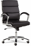 Alera® Neratoli Series Mid-Back Swivel/Tilt Chair - Black Leather - Chrome Frame [ALENR4219-FS-NAT]