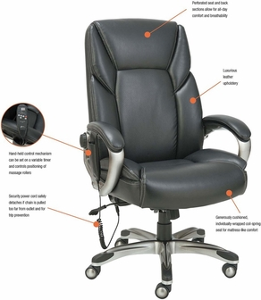 Alera Shiatsu Massage Office Chair with Padded Arms and Silver