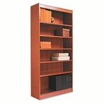 Alera® Square Corner Wood Bookcase - Six-Shelf - 35-5/8w x 11-3/4d x 72h - Medium Cherry [ALEBCS67236MC-FS-NAT]