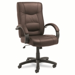 Alera® Strada Series High-Back Swivel/Tilt Chair - Brown Top-Grain Leather Upholstery [ALESR41LS50B-FS-NAT]