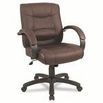 Alera® Strada Series Mid-Back Swivel/Tilt Chair w/Brown Top-Grain Leather Upholstery [ALESR42LS50B-FS-NAT]