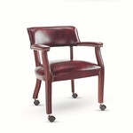 Alera® Traditional Series Guest Arm Chair w/Casters - Mahogany Finish/Oxblood Vinyl [ALETDC4336-FS-NAT]