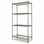 Alera® Wire Shelving Starter Kit - Four-Shelf - 36w x 18d x 72h - Black Anthracite [ALESW503618BA-FS-NAT]