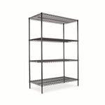 Alera® Wire Shelving Starter Kit - Four-Shelf - 48w x 24d x 72h - Black [ALESW504824BL-FS-NAT]