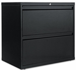 Alera® Two-Drawer Lateral File Cabinet - 30w x 19-1/4d x 28-3/8h - Black [ALELF3029BL-FS-NAT]