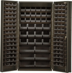 All-Welded Storage Bin Cabinet with 132 Bins - Black [QSC-36-BK-QSS]