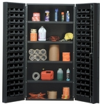 All-Welded Storage Bin Cabinet with 96 Bins - Black [QSC-36-96-4IS-BK-QSS]