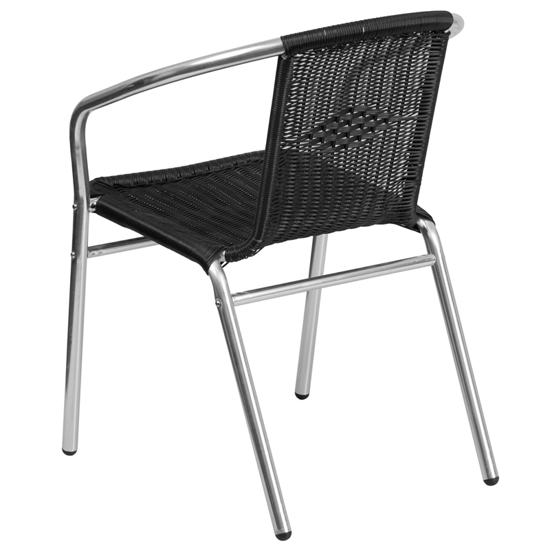 Commercial Aluminum And Black Rattan Indoor Outdoor