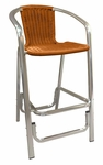 Aluminum Barstool with Simulated Wicker [56-BS-SAT]