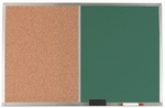 Aluminum Frame Combination Board with Natural Pebble Grain Cork Bulletin Board and Green Chalkboard - 24''H x 36''W [DCO2436G-AA]