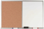 Aluminum Frame Combination Board with Natural Pebble Grain Cork Bulletin Board and Melamine Marker Board - 24''H x 36''W [WDCO2436-AA]