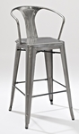 Amelia Metal Cafe Barstool with Back in Galvanized - Set of 2 [CF500730-GA-FS-CRO]