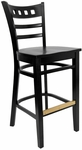 American Back Barstool with Wood Seat in Black Finish [8226B-B-B-HND]