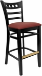 American Back Barstool with Black Finish and Gr 2 Burgundy Vinyl Seat [8226B-B-IND8569-HND]