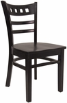 American Back Chair with Solid Wood Saddle Seat - Black [8226-B-B-HND]