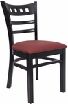 American Back Chair with Black Finish and Gr 2 Burgundy Vinyl Seat [8226-IND8569-HND]