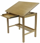 Americana II 42''W x 30''D Wood Drafting Table with Adjustable Angle Top - Light Oak [13254-FS-SDI]