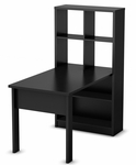 Annexe Collection Work Table and Storage Unit Combo in Pure Black [7270798-FS-SS]
