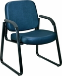 Anti-Microbial and Anti-Bacterial Vinyl Guest and Reception Chair with Arms - Navy [403-VAM-605-MFO]
