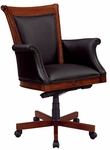 Antigua Executive High Back Chair with Upholstered Arms in Black Leather - West Indies Cherry Finish [7480-835-FS-DMI]