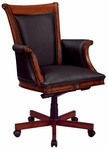 Antigua Executive High Back Chair with Wood and Upholstered Arms in Black Leather - West Indies Cherry Finish [7480-836-FS-DMI]