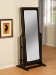 Antique Black Cheval Jewelry Wardrobe [502-551-FS-PO]