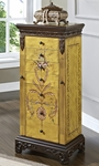 Antique Parchment Hand Painted Jewelry Armoire [582-314-FS-PO]