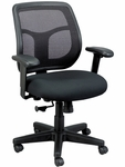 Apollo 26'' x 19.3'' x 35'' H Adjustable Height Mid Back Task Chair - Black Mesh Back and Fabric Seat [MT9400-5806-PM01-FS-EURO]