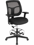 Apollo 25'' W x 24'' D x 43.5'' H Adjustable Height Mid Back Mesh Back Drafting Stool - Black [DFT9800-PM01-5806-FS-EURO]