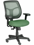 Apollo 26'' x 19.3'' x 35'' H Adjustable Height Mid Back Task Chair - Green Mesh Back and Fabric Seat [MT9400-5880-PM04-FS-EURO]