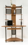 Arch Corner Tower 47.25''W x 24.75''D Storage Computer Work Station with Keyboard Tray - Pewter and Teak [50500-FS-SDI]