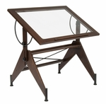 Aries Clear Tempered Glass and Wood Drafting Table - Dark Walnut [13310-FS-SDI]