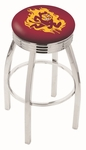 Arizona State University 25'' Chrome Finish Swivel Backless Counter Height Stool with 2.5'' Ribbed Accent Ring [L8C3C25ARIZST-FS-HOB]